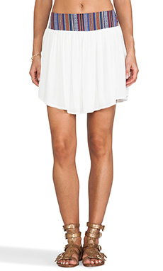 Surf Gypsy Tribal Waistband Gauze Skirt in White