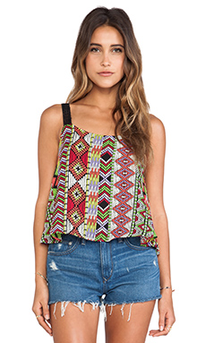 Surf Gypsy Multi Tribal Print Tank in Black