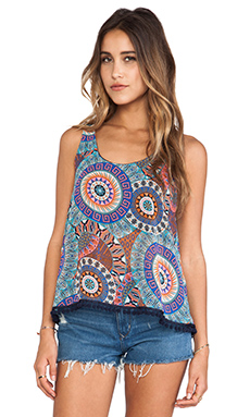 Surf Gypsy Multi Print Pom Pom Tank in Multi