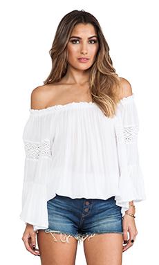 Surf Gypsy Crochet Sleeve Top in White