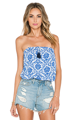 Surf Gypsy Tassel Tube Top in Blue Swirl & Navy