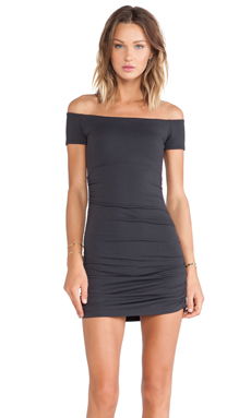Susana Monaco Jona Off the Shoulder Rouched Dress in Onyx