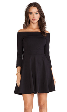 Susana Monaco Off Shoulder Circle Skirt Dress in Black