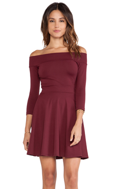 Susana Monaco Off Shoulder Circle Skirt Dress in Port Wine
