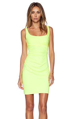 Susana Monaco Cross Gather Tank Dress in Neon
