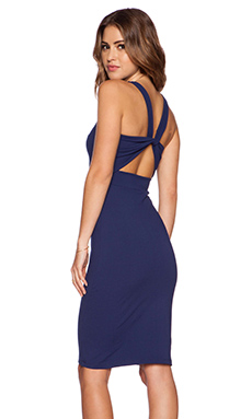 Susana Monaco Twist Back Midi Dress in Inkwell