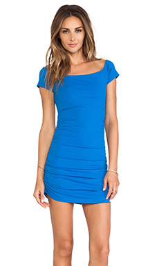 Susana Monaco Jona Off The Shoulder Ruched Dress in Blueberry