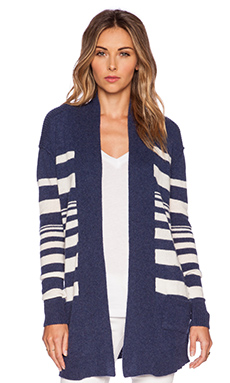 SUSS Hudson Cardigan in Navy & Cream
