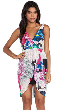 Talulah Whimsical Vibe Dress in Hibiscus Lace Collage Print