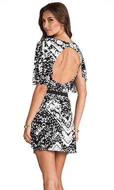 T-Bags LosAngeles Circle Cut Out Dress in Black/White Chevron