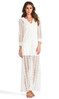 T-Bags LosAngeles Crochet Long Sleeve Maxi Dress in White