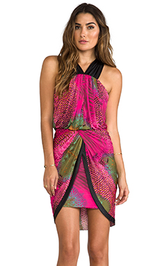 T-Bags LosAngeles Cross Back Tulip Dress in Hot Pink Feather