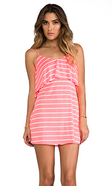 T-Bags LosAngeles Low V Back Dress in Neon Coral Stripe
