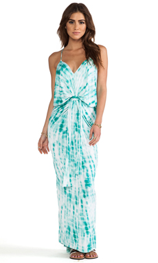 T-Bags LosAngeles Knot Front Maxi Dress in Turquoise Tie Dye