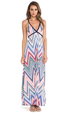 T-Bags LosAngeles Wrap Around Tie Maxi Dress in Zig Zag Multi