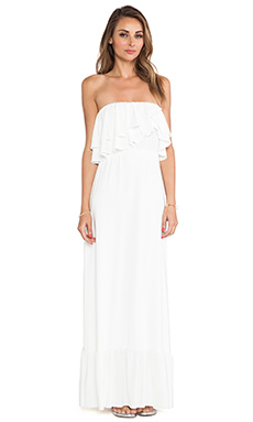 T-Bags LosAngeles Strapless Ruffle Top Dress in White