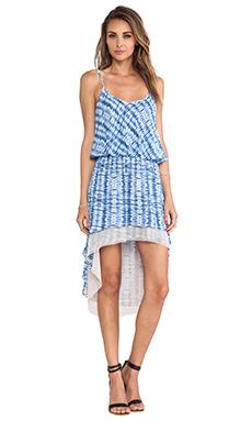 T-Bags LosAngeles Open Back Asymmetric Hem Dress in Blue Tie Dye