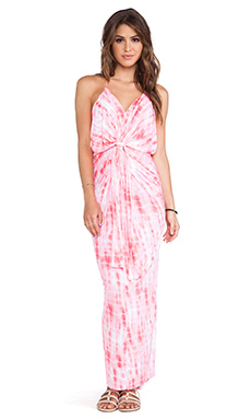 T-Bags LosAngeles Knot Front Maxi Dress in Neon Coral Tie Dye
