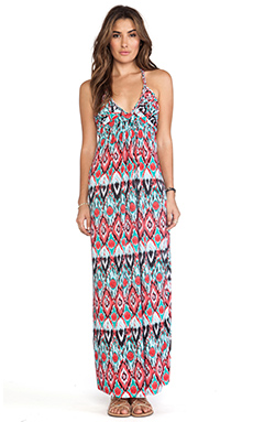 T-Bags LosAngeles Deep V Maxi Dress in Red & Turquoise Tribal