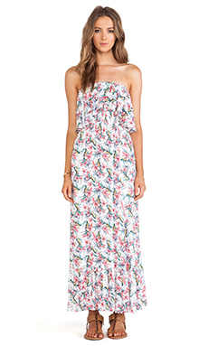 T-Bags LosAngeles Ruffled Strapless Maxi Dress in Small Hibiscus Multi
