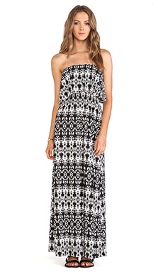 T-Bags LosAngeles Strapless Tiered Maxi Dress in Black & White Mosaic