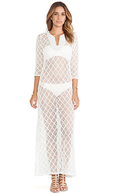 T-Bags LosAngeles Long Sleeve Lace Dress in White Crochet