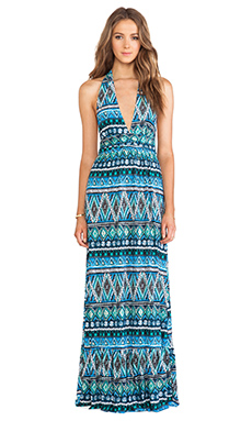 T-Bags LosAngeles Halter Maxi Dress in Blue Diamond