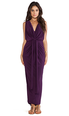 T-Bags LosAngeles Tie Front Maxi Dress in Mulberry