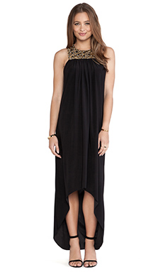 T-Bags LosAngeles Embellished Yoke Maxi Dress in Black Embellished