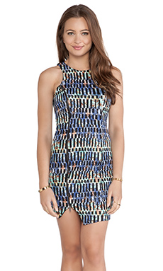 T-Bags LosAngeles Asymmetric Hem Tank Dress in Sea Mosaid