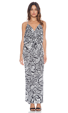 T-Bags LosAngeles Racer Back Maxi in Black & White Feather Print