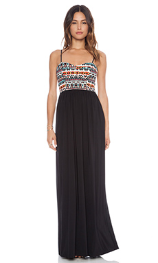 T-Bags LosAngeles Printed Maxi Dress in Black & Multi