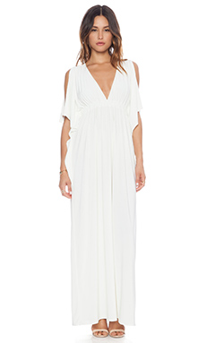 T-Bags LosAngeles Open Shoulder Maxi Dress in White