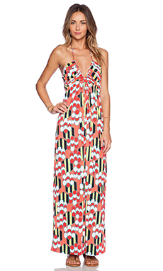 T-Bags LosAngeles Deep V Printed Maxi Dress in Honey Print