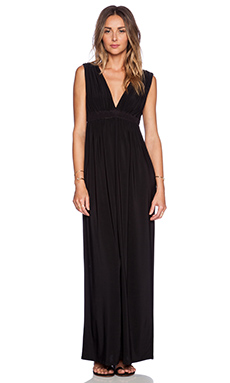 T-Bags LosAngeles Deep V Maxi Dress in Black