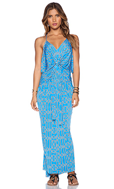 T-Bags LosAngeles Tie Front Maxi Dress in Grecian Tile
