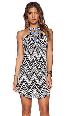 T-Bags LosAngeles Tribal Halter Dress in Black & White Zig Zag