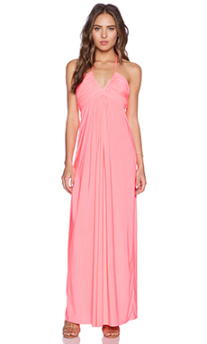 T-Bags LosAngeles Halter Maxi Dress in Neon Pink