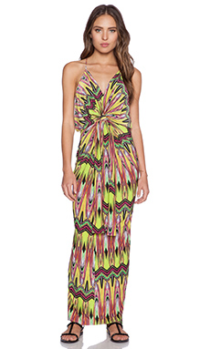 T-Bags LosAngeles Tie Front Maxi Dress in Neon Carnival