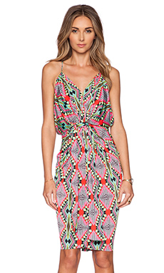T-Bags LosAngeles Tie Front Dress in Pink Aztec
