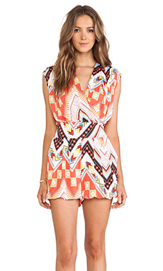 T-Bags LosAngeles Straight Leg Crossover Romper in Red Western Geometric