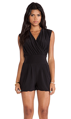T-Bags LosAngeles Straight Leg Crossover Romper in Black