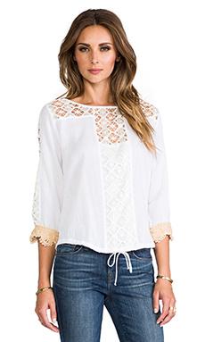 T-Bags LosAngeles Crochet Long Sleeve Top in White
