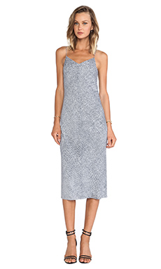 T by Alexander Wang Silk Georgette Slip Dress in Indigo