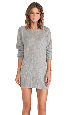 T by Alexander Wang Mohair Half Cardigan Dress in Heather Grey