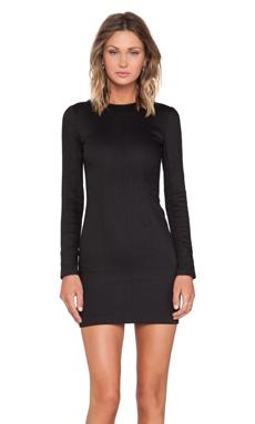 T by Alexander Wang Denim Long Sleeve Dress in Black