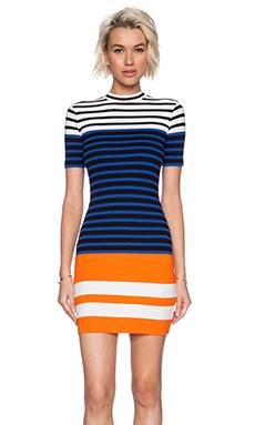 T by Alexander Wang Engineer Stripe Short Sleeve Dress in Black & Viper