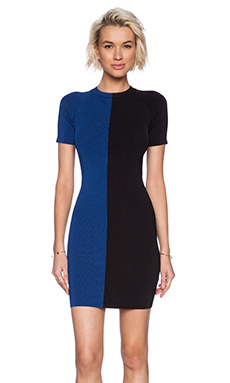 T by Alexander Wang Two Tone Short Sleeve Dress in Black & Viper