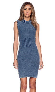 T by Alexander Wang Acid Washed Sleeveless Dress in Indigo