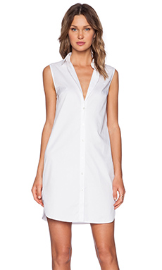 T by Alexander Wang Poplin Shirt Dress in White